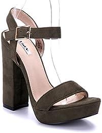 Schuhtempel24 Damen Schuhe Plateausandaletten Sandalen Sandaletten Stiletto 14 cm High Heels