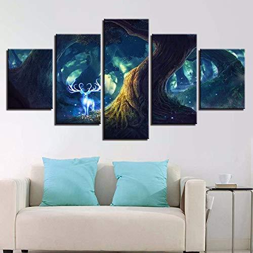 �lde Wohnzimmer Wandkunst Dekor 5 Stücke Baum Hirschgott Poster Wald Tier Dollars Fee HD Druckt Bilder ()