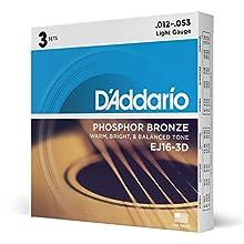 D'Addario EJ16-3D Phosphorbronze leichte Akustische Gitarrensaiten, 3er Pack