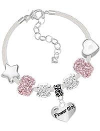 """Weißes Leder Charm-Armband """"Flower Girl"""" und Dankeskarte für Blumenmädchen auf Hochzeiten, Geschenkset"""