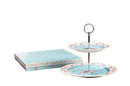 Kuchenständer, 2Etagen Porzellan Vintage Victoria Blumenprint Rose in Geschenkbox, Porzellan, blau, 22x26