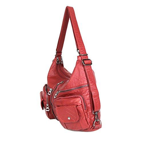 Imagen de 21kbarcelona top bolsos con cremallera bolsillos múltiples lavado bolsos de cuero bolsas de hombro  xs160989 rojo  alternativa