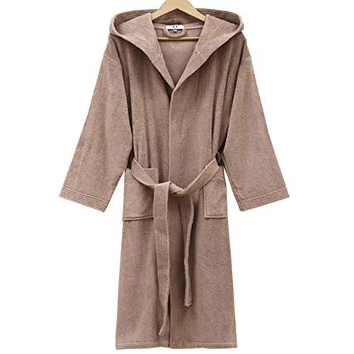 Lithapp accappatoi unisex, pigiama in spugna di cotone 100%, accappatoi casual stile cappello,brown-xl