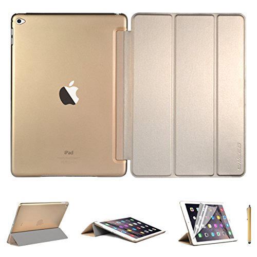 Swees® Funda Protección Ultra Fina y Ligera con Smart Cover para Apple iPad Air2 (2014 Versión) + Protector de pantalla + Lápiz óptico - Amarillo