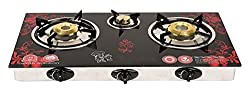Surya Crystal 3 Burner Automatic Gas Stove Flower Design, Red