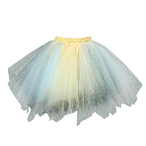 Tüllrock Zweifarbig, FNKDOR Bunt Tütü Tutu Petticoat Damen Kurze Rock Unterrock (Kurz, G) Antoinette Creme
