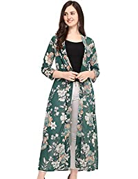 5a1328dc3 Serein Women s Green Floral Georgette Longline Shrug Jacket with Full  Sleeves