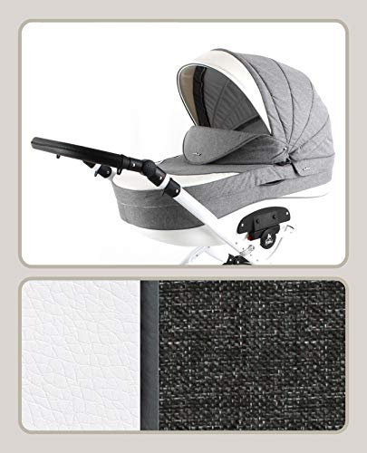 Lux4Kids Pram Stroller 3in1 2in1 Isofix Colour Selection Buggy Car seat Tor White Light Grey T-06 4in1 car seat +Isofix Lux4Kids Lux4Kids Tor 3in1 or 2in1 pushchair. You have the choice whether you need a car seat (baby seat certified according to ECE R 44/04 or not). Of course the car is robust, safe and durable Certificate EN 1888:2004, you can also choose our Tor with Isofix. The baby bath has not only ventilation windows for the summer but also a weather footmuff and a lockable rocker function. The push handle adapts to your size and not vice versa, the entire frame is made of a special aluminium alloy with a patented folding mechanism. 1