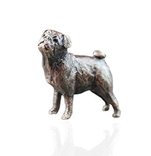 MOPS HUND-Bronze Miniatur-Figuren-Butler & Peach. (Miniatur-mop)