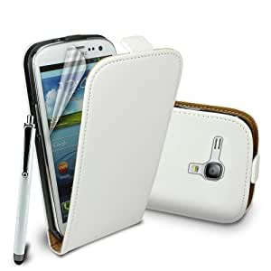 Premium Stylish Protective 100% REAL GENUINE COW LEATHER FLIP CASE POUCH COVER FOR SAMSUNG GALAXY S3 MINI i8190 + Includes STYLUS PEN + SCREEN PROTECTOR (White)