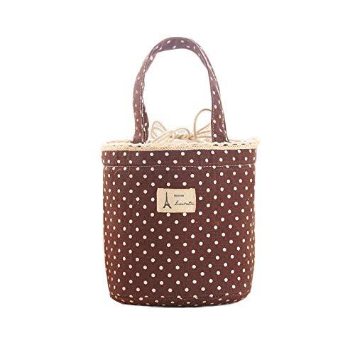 Wanshop ® borsa termica porta-pranzo in tela impermeabile borsa per picnic per portare cibo in viaggio, a scuola, in ufficio, a pranzo in bella tela, per adulti, bambini (marrone)
