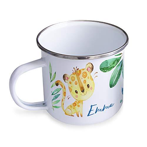 Personello® Emaille Tasse Becher mit Namen Bedrucken, weiß, Leopard im Dschungel, für Kinder im Kindergarten, 300ml