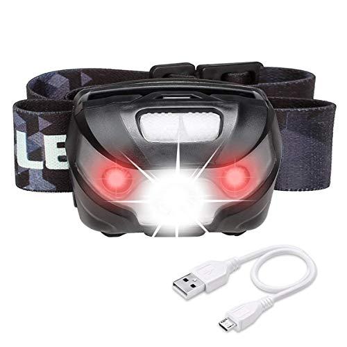 LE Lighting EVER Lampe Frontale LED Rechargeable, 5 Modes 1200mAh, Lumière Blanc et Rouge, Distance 150 Mètres,...