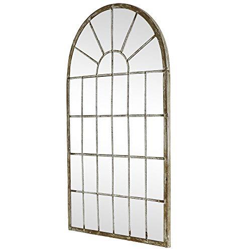 Melody Maison Espejo de pared arqueado para ventana, estilo rústico, 36 x 60 cm