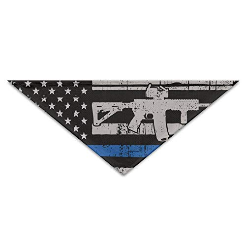 Sdltkhy Gun Thin Blue Line Flag Triangle Pet Scarf Dog Bandana Pet Collars for Dog Cat One Size