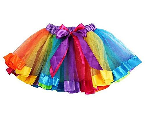HaimoBurg Mädchen Kinder Regenbogen Tüllrock Tütü Tutu Ballettrock Tanzkleid Ballettkleid Ballettröckchen Rock Clubwear (2-5 Jahre)