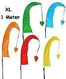 1 Stück: XL - 1 m - Windfahne / Balifahne - bunte Farben - mit Fahnenstange - Windrichtungsanzeige - aus Nylon / Flagge Windrichtungsanzeiger - für Außen - Bali Gartenfahne - Gebetsfahne Umbul Umbulfahne - Dekofahne - Asiafahne