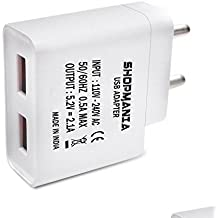 Micromax Canvas Pulse 4G CompatibleDual Port USB Charger Adapter with 2.1 Amp Auto Detect Technology/Wall Charger Adapter/Fast Charger/Power Adapter/ Smartphone Charger/ Hi Speed Travel Charger/Fast Charging Adapter With 1.2 Meter Micro USB Charging Cable & Data Cable for all Android & IOS Devices - White ,By Shopmania
