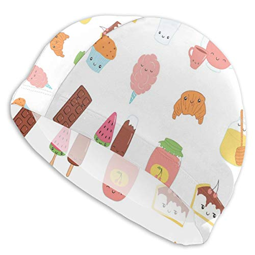 GUUi Swimming Cap Elastic Swimming Hat Diving Caps,Dessert Concept Sketches Ice Cream Donut Cake Honey Cupcake Chocolate Everything Sweet,for Men Women Youths (Chocolate Donut Cake)