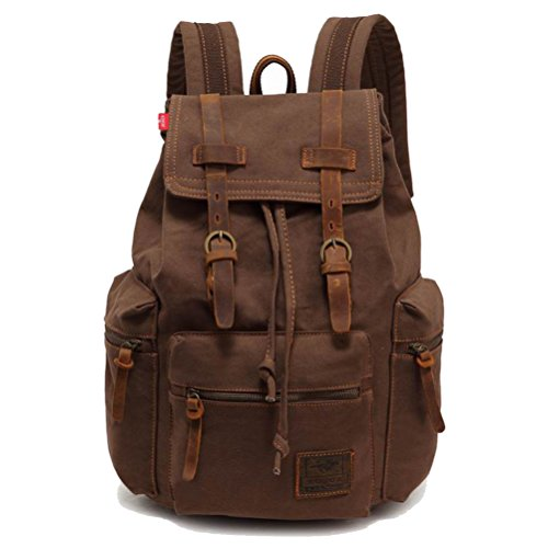 Canvas Backpack Rucksack Vintage Knapsack military College School Bags Casual Daypacks, Hiking Travel Shoulder Bag for Outdoors
