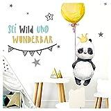 Little Deco Aufkleber Panda mit Spruch Sei wild I S - 68 x 42 cm (BxH) I Luftballon Krone Wandbilder Wandtattoo Kinderzimmer Tiere Deko Babyzimmer Kinder Sticker DL201