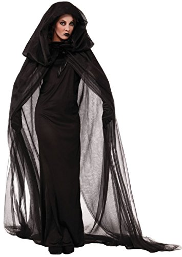 aimerfeel-Frauen Schwarze Geisterbraut, böse Königin Lange Cosplay Kleid + Lange Vampir Umhang mit Kapuze, Dame ausführen Kostüme Halloween und Abendkleid, Größe M (38-40) (Schwarze Halloween-kostüme Frauen)