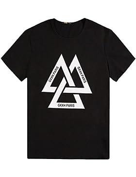 PFSYR La Camiseta de Los Hombres de Verano Suelta La Media Camiseta Manga Corta, Signo de Triángulo, Carta