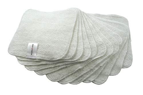 MuslinZ® 12 toallitas de bambú de algodón de rizo, 20 x 20 cm, toallitas reutilizables para bebé blanco blanco