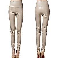 hibote PU Pantalones Mujeres Cintura Elástico Pantalones C40