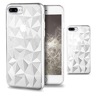 Moozy Silikon Hülle für iPhone 7 Plus / 8 Plus, Transparent Klar - TPU Texturiert 3D Geometrisches Prism Design Schutzhülle Case