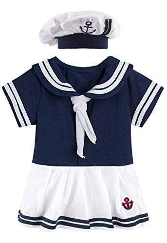 MOMBEBE COSLAND Baby Mädchen Matrose Body Kurz mit Hut (Marine, 0-6 Monate)