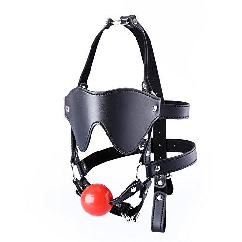Fetish Face Kit , URLOVE SM Augenmaske mit Mundknebel Kopfharness SM Sex Spielzeug Augenmaske SM Mund knebel Fetisch SM Ballknebe für Paare - Schwarz-rot