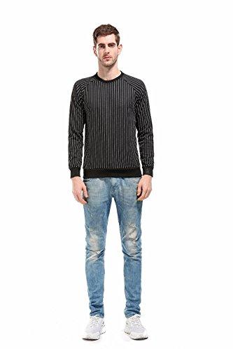 Herren Crewneck Sweatshirt, Elecenty Gestreifte Sportswear Slim Langarmshirt Langarm Sweater Fashion Shirt Top Pullover Bluse Poly Crewneck Fleece Sweatshirt