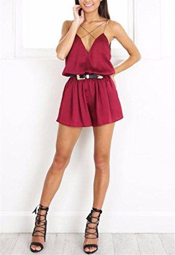 QIYUN.Z Femmes Spaghetti Sangle Halter Cou Backless Vêtements Décontractés Jumpsuits Vin Rouge