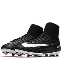 Nike JR MERCURIAL VICTORY VI DF FG - Zapatillas de fútbol, Unisex infantil, Negro - (Black/White-Dark Grey-University Red)