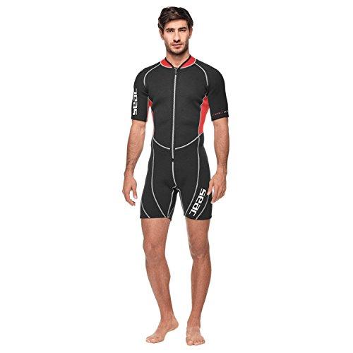 Seac Herren Sealight Shorty Neoprenanzug , Black - Black / Red , XXXXL