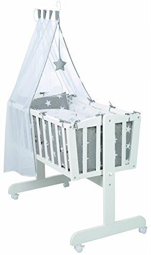 roba Komplettwiegenset, Babywiege \'Little Stars\' (40x90cm), Holz weiß, Stubenwagen & Wiege mit Feststellfunktion, Wiegenset inkl. kompletter Ausstattung & Baby Bettwäsche (80x80cm)