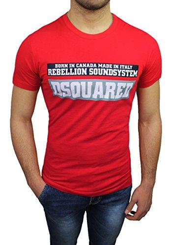 T-Shirt maglia uomo Dsquared 2 rosso girocollo maniche corte original man's shirt (S)