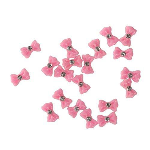 SODIAL(R) 20pcs 3D Autocollant Nail art D¨¦co pour ongles DIY Avec strass Noeud Papillon Rose