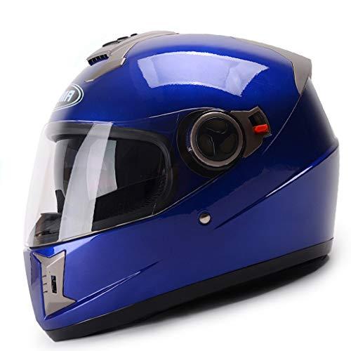 ZJJ Helm- Vollüberzogener Helm, Regen- und UV-Schutzhelm, Anti-Fog-Objektiv (Farbe : Blau, größe : 27x37cm)