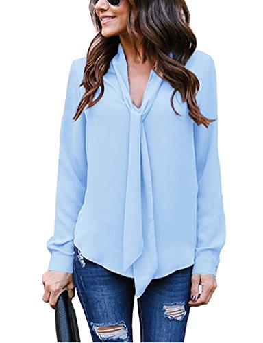 Cassiecy Damen Bluse Elegant Chiffon V-Ausschnitt Langarm Casual Oberteil Lose Langarmshirt V-Ausschnitt Vintage Tunika Hemd T-Shirt (L, Blau-2)