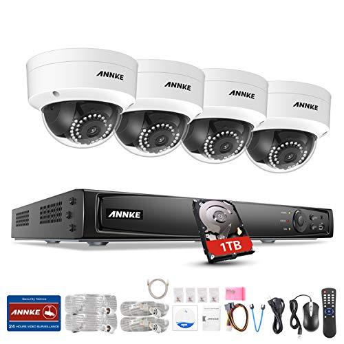 6.0MP POE Überwachungskamera Set, ANNKE 8 Kanal 6.0MP POE NVR + 4 * 1080P IP-Überwachungskameras für Ihnen und Außen, POE Plug und Play, Bewegungserkennung, Fernzugriff (8CH- 4 Bullet/ 1TB HDD)