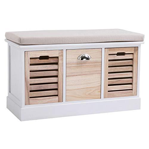 CARO-Möbel Sitzbank TRIENT Garderobenbank Sitztruhe in weiß/Natur mit Sitzkissen und 3 Schubkästen, Vintage Shabby Look Landhaus