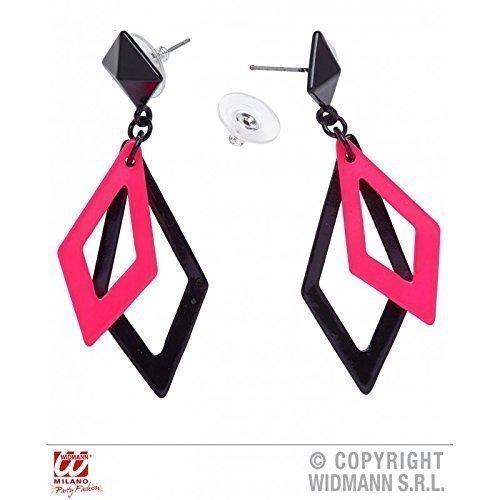 Lively Moments Freche pink - Schwarze Ohrringe passend zu Kostümen der 80er oder Disco