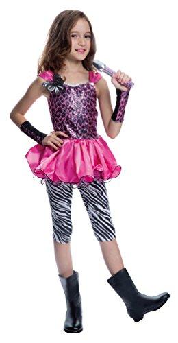 Karneval-Klamotten Rockstar Mädchen-Kostüm Popstar Mädchen Kinder-Kostüm Sängerin Musikerin 80er Jahre Komplett-Kostüm inkl. Mikrofon Größe 128