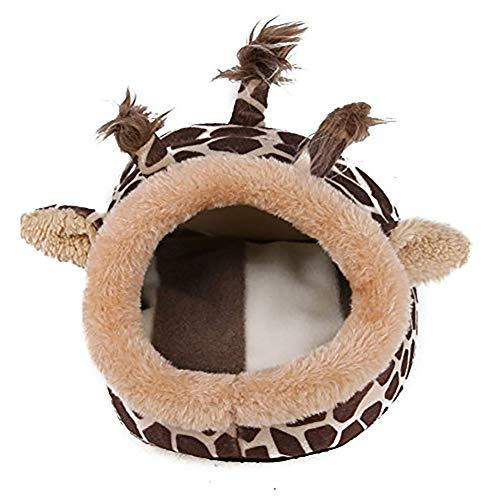 PET Fleece Bett mit bunten Mustern niedlich Rutsch warm waschbar für kleine mittlere Welpe Schlaf Iglu Haus-groß (Giraffe) -