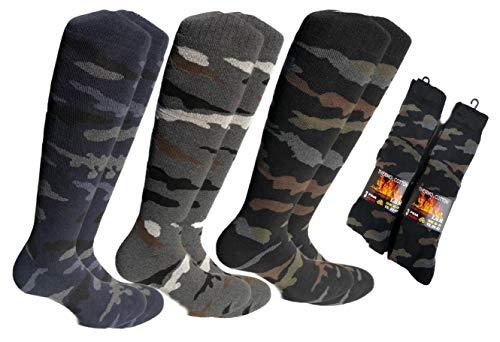 Lucchetti socks milano 6 paia calze calzini uomo lunghi da lavoro cotone felpato termico (eu 39-42 uk 6-8, 6 paia mimetici)