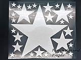 Bügelbild, Motiv: Sterne, Farbe: weißglitzernd, Setgröße: maxi, heißsiegelfähige Flexfolie