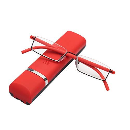 LianSan Flexible Lesebrille Halbbrille Presbyopische Gläser, Leichtbau Lesebrillen mit TR90 Rahmen aus Edelstahl Rechteckig Gratis Etui Lesehilfe für Damen und Herren Rot +1.00