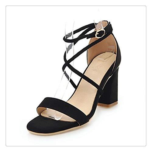 6c5c7d0066b 4 Colors Size 33-43 Vintage Women High Heel Sandals Women Ankle Strap Open  Toe Thick Heel Sandals Summer Club Shoes Black 1 5